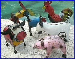 Recycled Metal Yard Art Farm Set Windmill Truck Cow Rooster Pig Goat Donkey