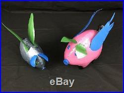Recycled Metal Yard Garden Art Flying Pig Sculpture Random Colors