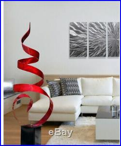 Red Ribboned Metal Garden Sculpture, Swirled Abstract I/O Yard Art Display Decor
