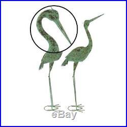 Rustic Coastal Crane Garden Statue Heron Figurine 2Pc Sculpture Metal Yard Decor