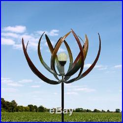 Rustic Outdoor Yard Solar Leaf Garden Windmill Sculpture Art Spinner Accent