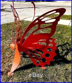SUMMER Yard Metal ART Decor 54 Butterfly Bench Chair Orange HUGE Sculpture