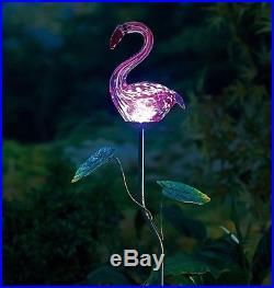 Set 3 Solar Powered Blown Glass Pink Flamingo Sculpture Garden Stake Yard Decor