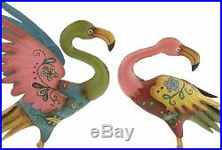 Set Of 2 Colorful Flamingo Statues Metal Garden Yard Sculptures Painted Patterns