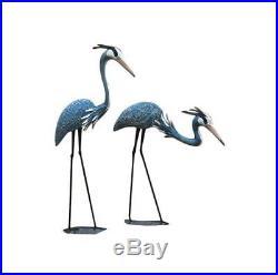 Set of 2 Blue Herons Garden Statue Sculpture Pair Metal Yard Art Lawn Decor