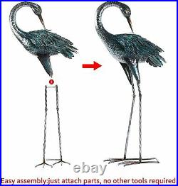 Set of 2 Garden Crane Blue Heron Decoy Sculptures Statues Metal Yard Art Decor
