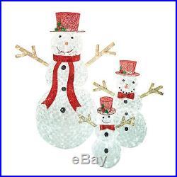 Set of 3 Crystal Ice LED Lighted Snowman Display Outdoor Christmas Yard Decor