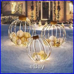 Set of 3 Lighted Golden Jumbo Christmas Ornament Sculptures Outdoor Yard Decor