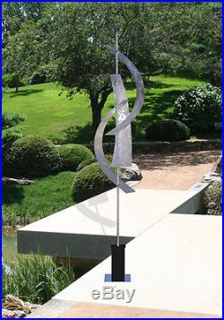 Silver Large Abstract Freestanding Metal Sculpture Indoor/Outdoor Yard Decor