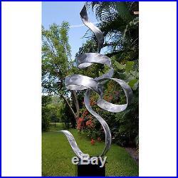 Silver Modern Abstract Indoor Outdoor Metal Yard Sculpture by Jon Allen