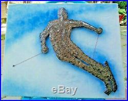 Snow Skier Dimentional Nail Art Wall Sculpture Vtg Mid Century Modern 1000+Nails