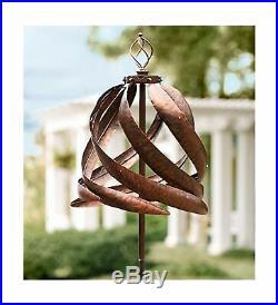 Solar Copper-Colored Metal Garden Wind Spinner Sculpture Decorative Yard Ar
