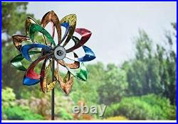 Solar Wind Spinner Sculpture Kinetic Lawn Garden Decor Patio Stake Yard LED NEW