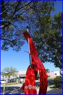 Statements2000 Abstract Metal Sculpture Yard Art Jon Allen Red Maritime Massive