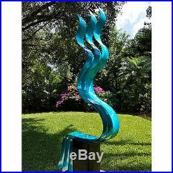 Statements2000 Abstract Metal Sculpture Yard Art by Jon Allen Aqua Transitions