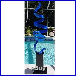 Statements2000 Modern Metal Sculpture Yard Art by Jon Allen Blue Perfect Moment