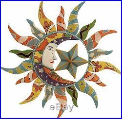 Sun Moon Stars Metal Wall Decor Hanging Deck Patio Yard Porch Garden Fence Art
