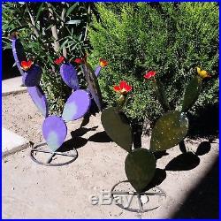 THREE 17 Metal Garden Yard Art Prickly Pear Cactus Plants +FREE