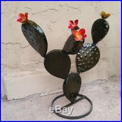 THREE 17 Metal Garden Yard Art Prickly Pear Cactus Plants +