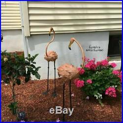 Tall Flamingo Metal Garden Statue 2 Pc 41 Outdoor Sculpture Yard Art Home Decor