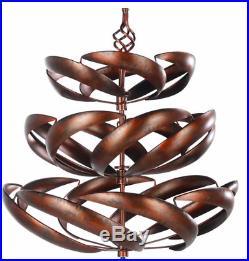 Tall Metal Garden Wind Spinner 100% Steel 77 H Yard Decor Sculpture Tri-Level
