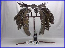 VTG METAL OWL SCULPTURE Brutalist Mcm Ernesto Gonzalez Style Garden Yard Art