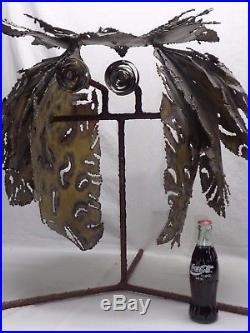 VTG METAL OWL SCULPTURE Brutalist Mcm Garden Yard Decor Scrap Junk Art Statue