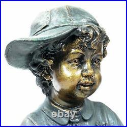 Victorian Children Boy Girl Reading Statue Brother Sister Garden Yard Sculpture