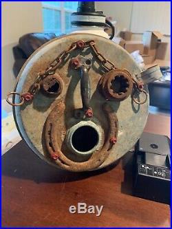 Vintage Hand Made Metal Rustic Folk Art Face Sculpture. Yard Art