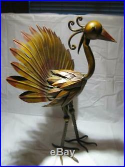 Vintage Metal Peacock Yard / Garden Sculpture 20 H X 17 W X 11 D