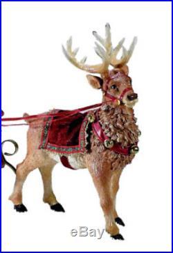 Vintage Outdoor Santa in Sleigh & Reindeer 10 Christma Yard Festive Decoration