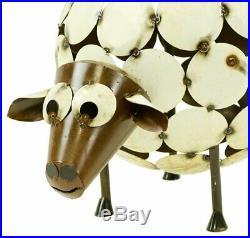 Whimsical Round Sheep Sculpture Statue Recycled Metal Handmade Cute Yard Figure