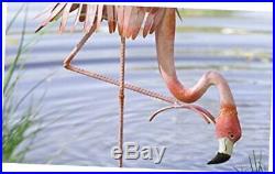 Wind and Weather Handcrafted Reclaimed Metal Outdoor Sculpture Yard Flamingo